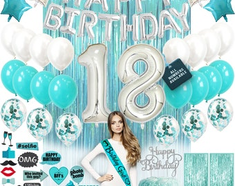 18th Birthday Decorations Birthday Party Supplies 18 Cake Topper Banner Confetti Balloons for her Silver Curtain Backdrop Props Photos bday