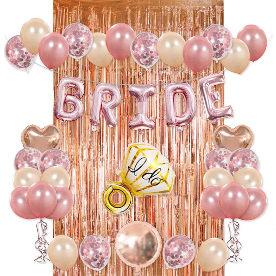 3f25306ed8939 Bride Party Decorations Kit Rose Gold Foil Fringe Curtain Confetti Balloon  Ring Heart Round Mylar Bachelorette Bridal Shower Party Supplies
