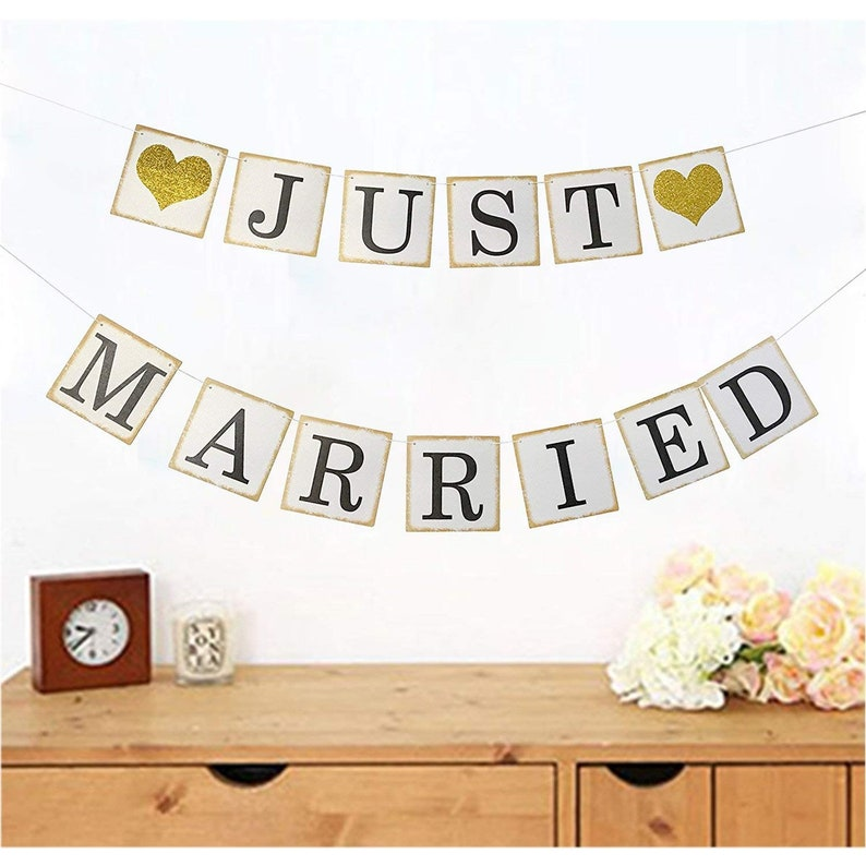 61ec2db59fe Just Married Banner Gold Glitter Sign Garland for Wedding Bridal Shower  Bachelorette Party Decorations Photo Props