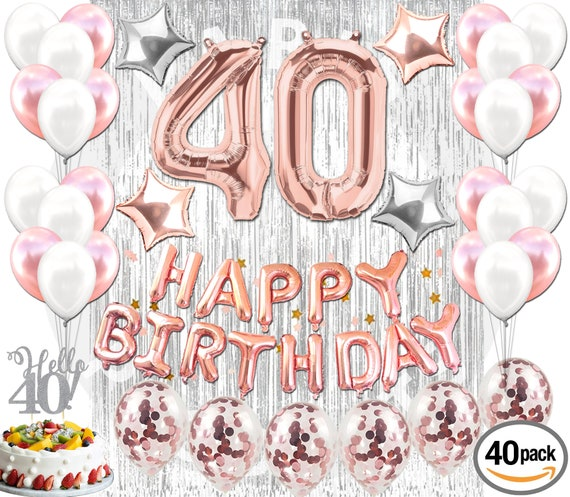 40th BIRTHDAY DECORATIONS Rose Gold 40 Pieces Great For