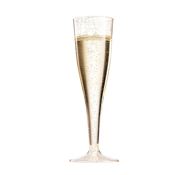 50 Gold Glitter Plastic Champagne Flutes ~ 5 Oz Clear Plastic Toasting Glasses