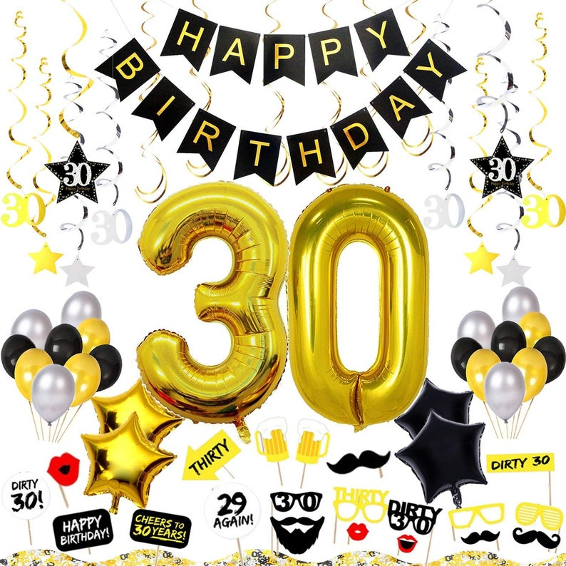 30th Birthday Decorations Happy Banner 30 Gold