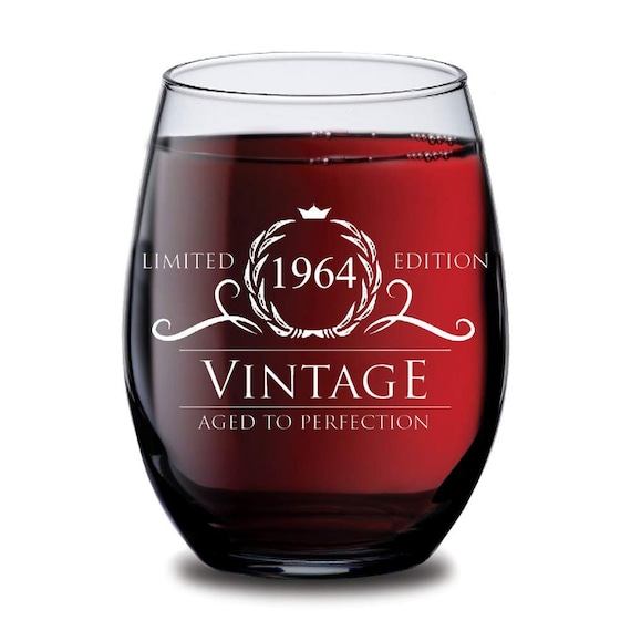 1964 55th Birthday Gifts Women Men Wine Glass Vintage Golden