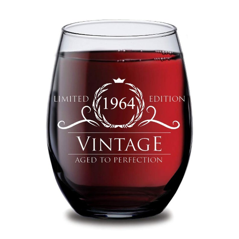 1964 55th Birthday Gifts Women Men Wine Glass Vintage Golden Anniversary Gift Ideas Him Her Husband Wife Cups Dad Mom Party Decorations