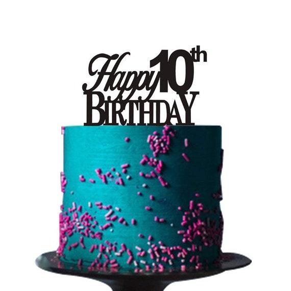 Astounding Happy 10Th Birthday Cake Topper For 10Th Birthday Cake Topper Etsy Funny Birthday Cards Online Inifodamsfinfo