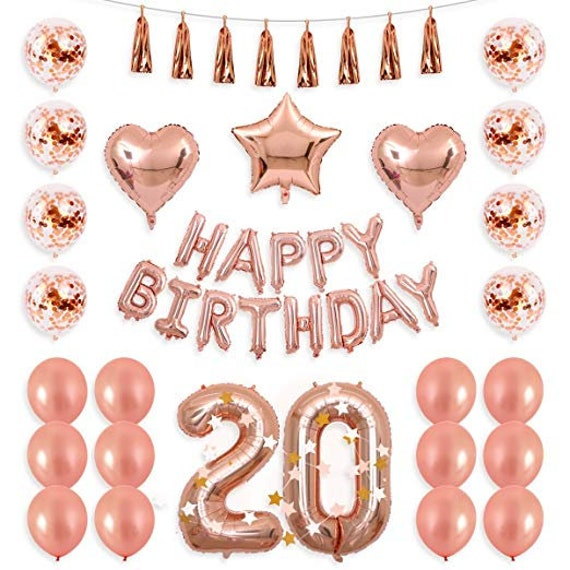 20th Birthday Decorations Party Supplies Balloons Rose