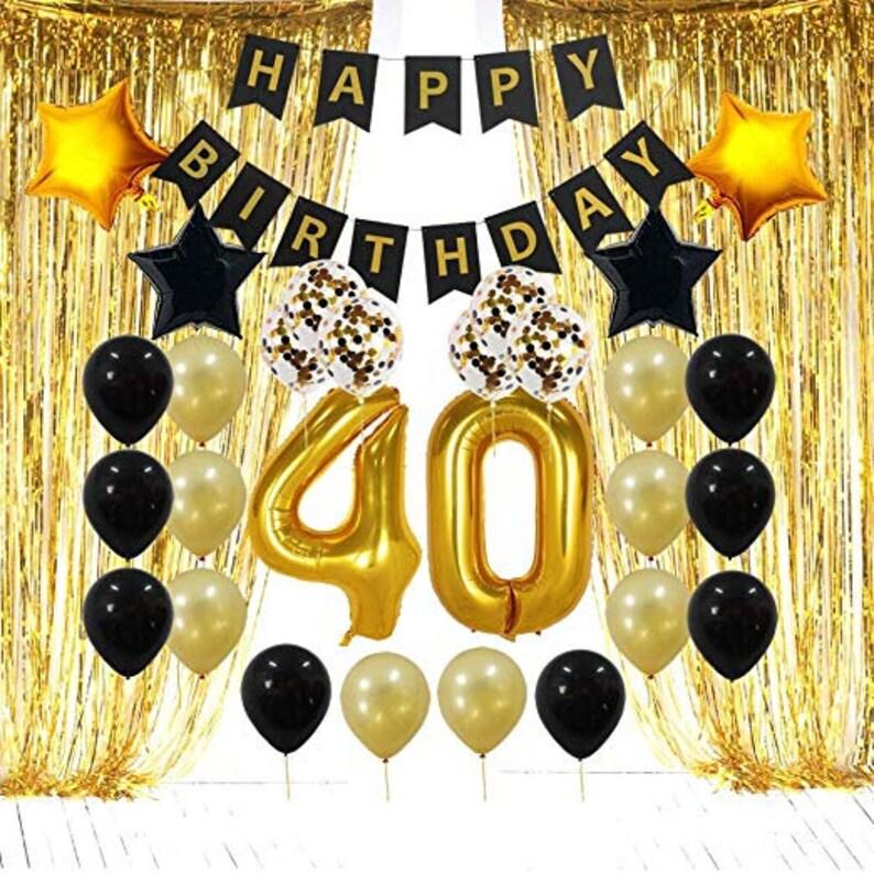40th BIRTHDAY DECORATIONS Gold Black Birthday Party