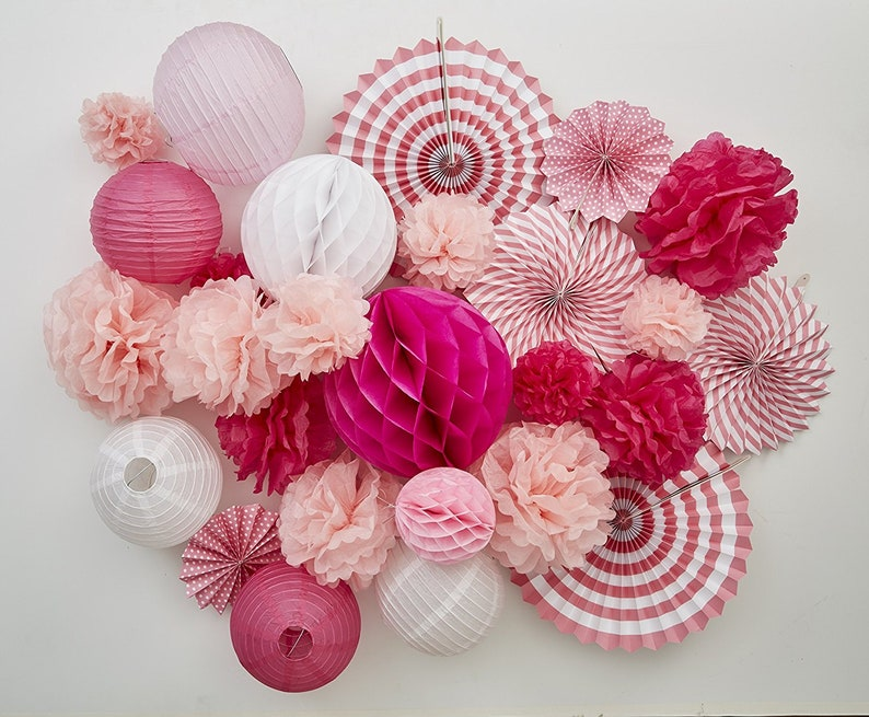 Tissue Paper Flower Pom Pom Lantern Fan Birthday Baby Bridal Shower Wedding Prom Party 27 Pcs Decoration Kit Pink Spring Celebration