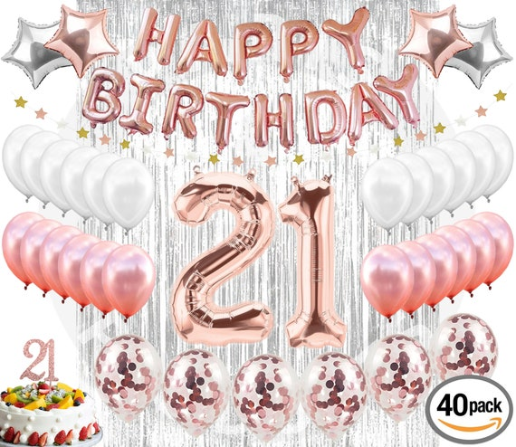 21st BIRTHDAY DECORATIONS 38 Pieces Cake Topper Party