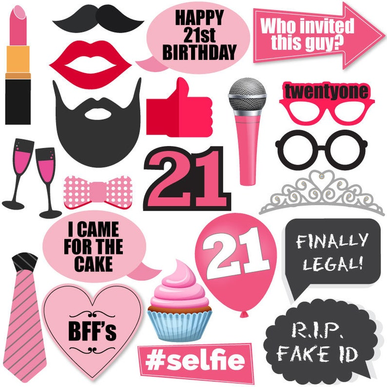 21st Birthday Elegant Pink and Gold Photo Booth Props Kit - 23 Pack Party  Camera Props Fully Assembled finally twenty one 21 finally legal