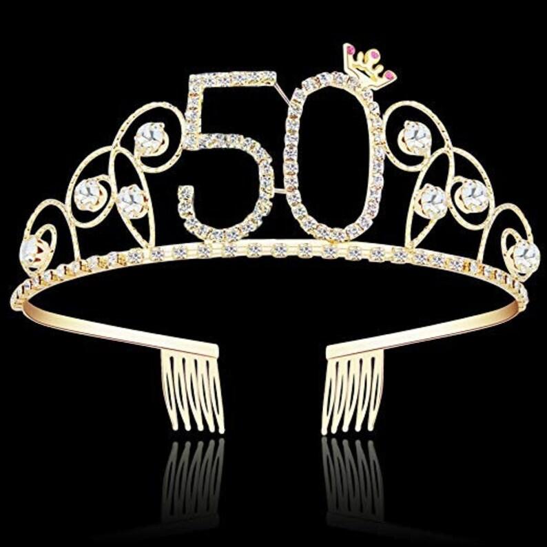 9e95771185 Crystal Tiara Birthday Crown Princess Crown Hair Accessories Silver  Rhinestone Happy Birthday 50 BirthGold 50th Birthday Decorations