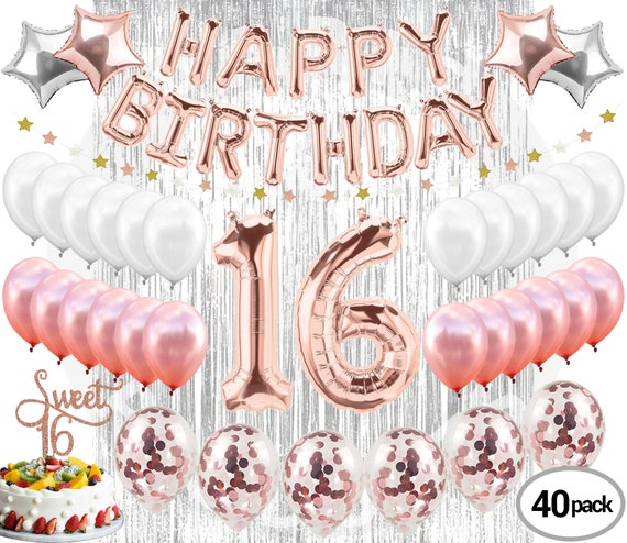 Rose Gold 16th Birthday Party Decorations Balloons