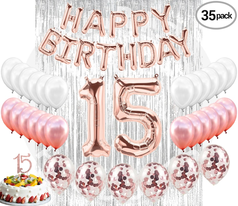 15th BIRTHDAY DECORATIONS Quinceanera Party Supplies 15 Rose