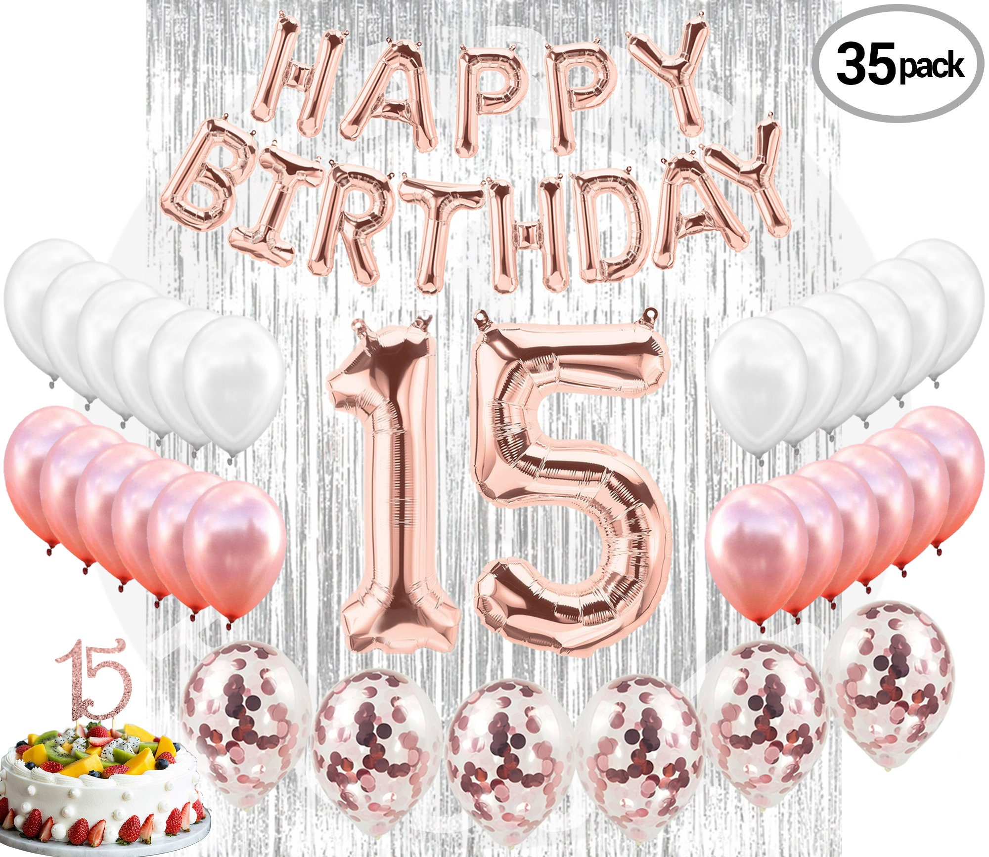 15th BIRTHDAY DECORATIONS Quinceanera Party Supplies 15 Rose Gold Banner  Confetti Balloons Curtain Backdrop Props Photos 15 BDay