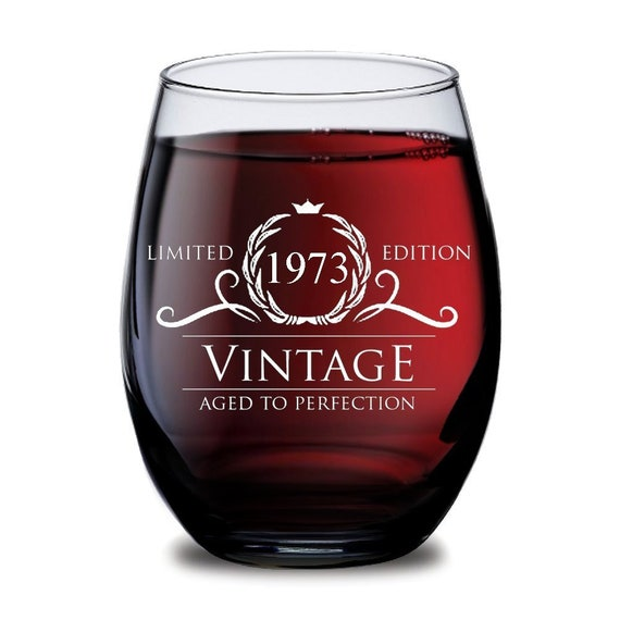 1968 45th Birthday Gifts Women Men Wine Glass Vintage Golden