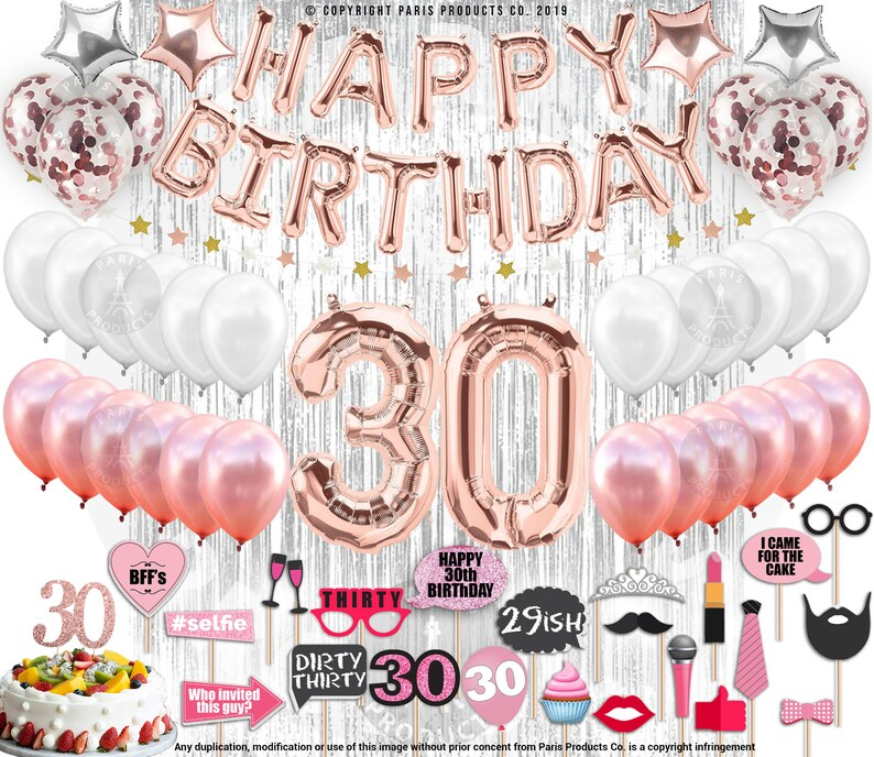 30th Birthday Decorations For Her Party Supplies Decorations Etsy
