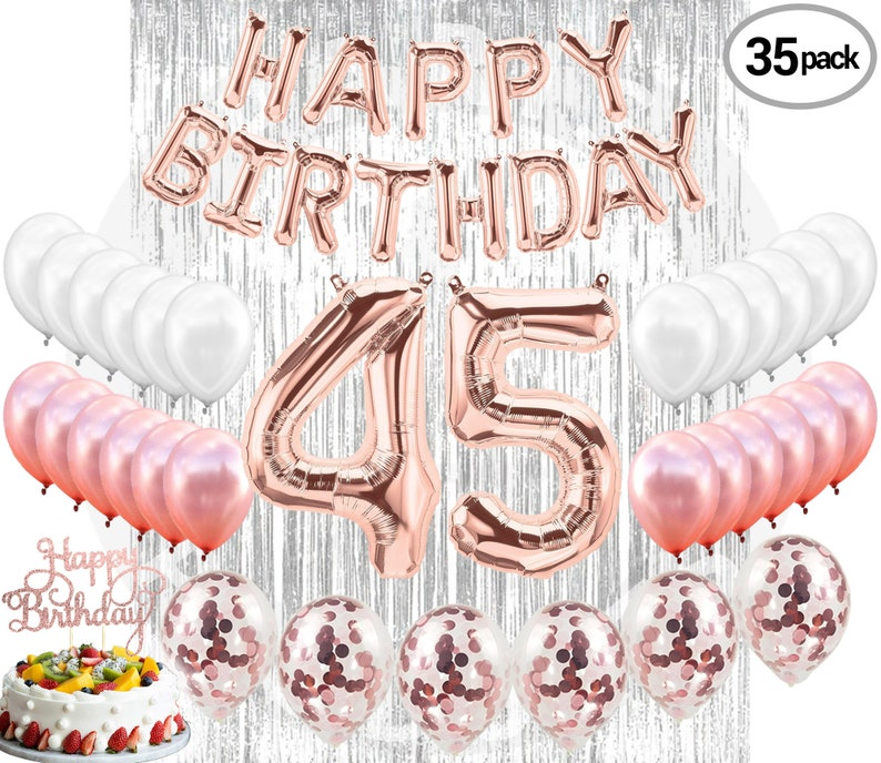 45TH Birthday Party Decorations Kit Happy Brithday Banner 45