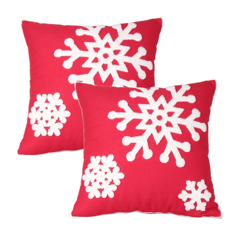 "Two Red Throw Pillows With Insert Cotton Cushion Sofa 18/""X18/"" Couch Pair"