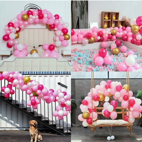 Pink Party Balloons 110 Pcs Hot Pink /& Gold Latex Metallic Pearlescent Balloon Arch /& Garland Kit Balloon Tying Tools+Decorating Strip+Gule Dots+Flower Clips+Curling Ribbon Wedding Baby Shower,/Party