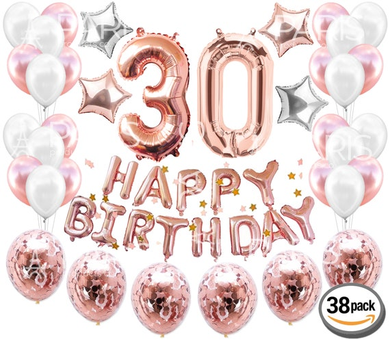 30th BIRTHDAY DECORATIONS Rose Gold 38 Pieces Great For