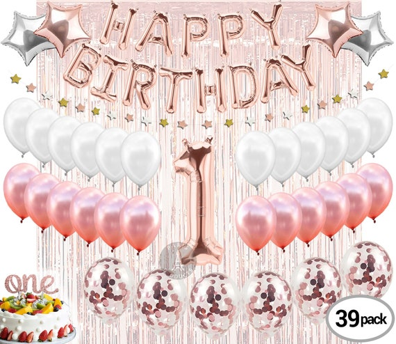 1st BIRTHDAY GIRL DECORATIONS rose gold for her party supplies balloons banners cake topper photo booth daughter happy first gift baby pink