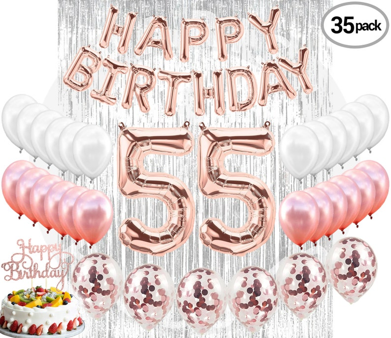 55th BIRTHDAY DECORATIONS Party Supplies Rose Gold