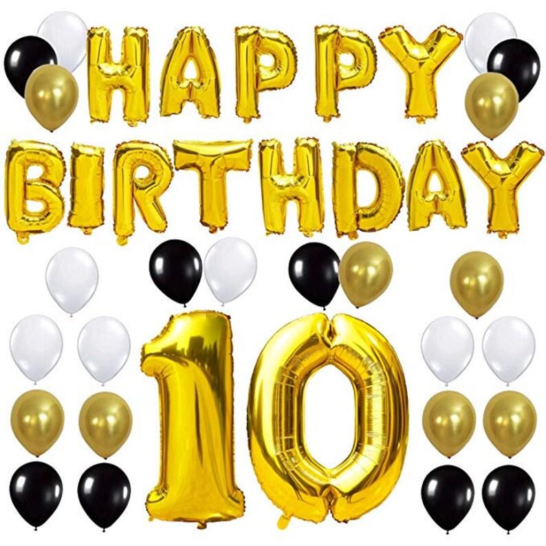 10TH Birthday Party Decorations Kit Happy Balloon