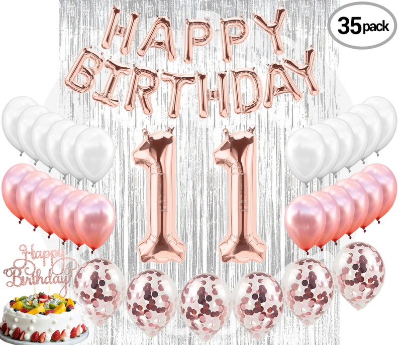 11th BIRTHDAY DECORATIONS Party Supplies And Rose Gold