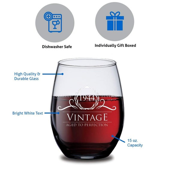 Vintage Aged To Perfection 1944 75th Birthday Funny Gift Wine Glass