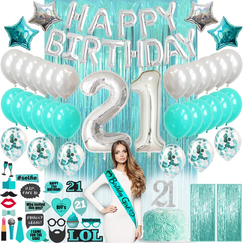 Cake Topper Banner Confetti Balloons Curtains Photo Props Teal Green Turquoise 21 Birthday Decorations for Her 21st Birthday