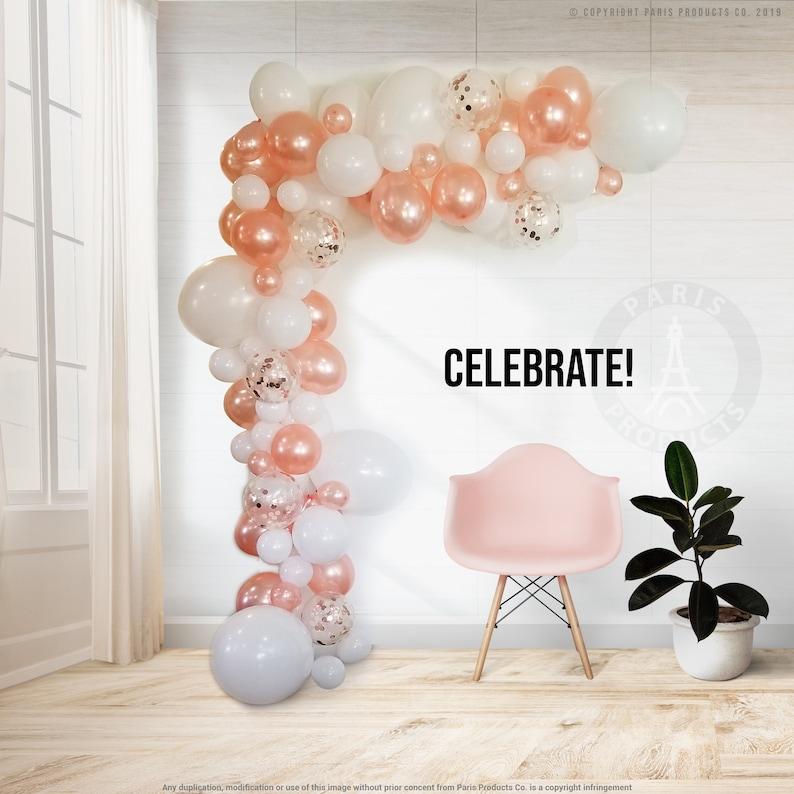 Rose Gold Confetti Balloon Arch  Garland Kit Pearl White Rose Gold Balloons Glue Dots Decorating Strip Holiday Baby Shower Grad Wedding