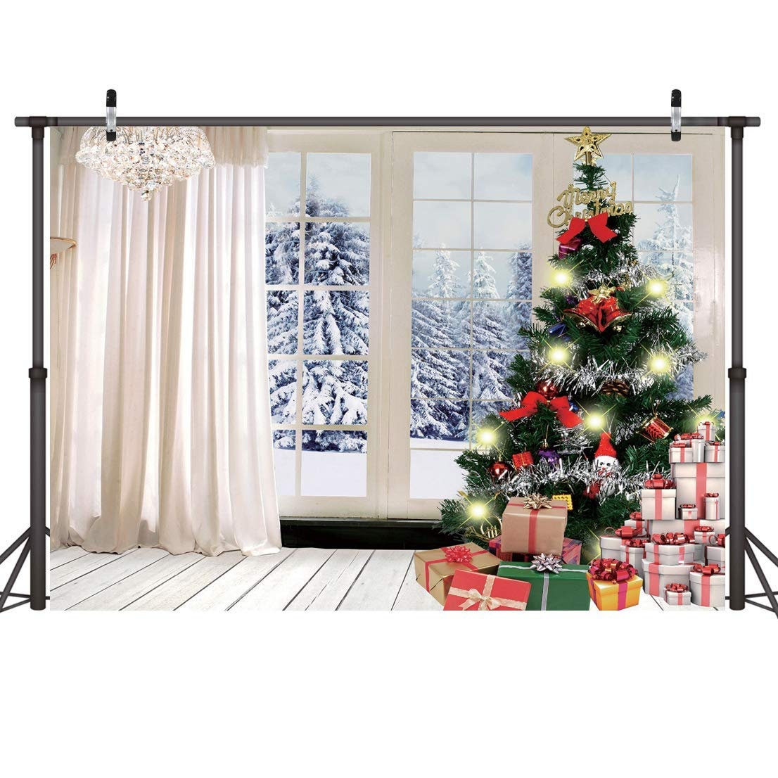 Christmas Tree Gift Backdrop Indoor Wooden Floor Curtains | Etsy