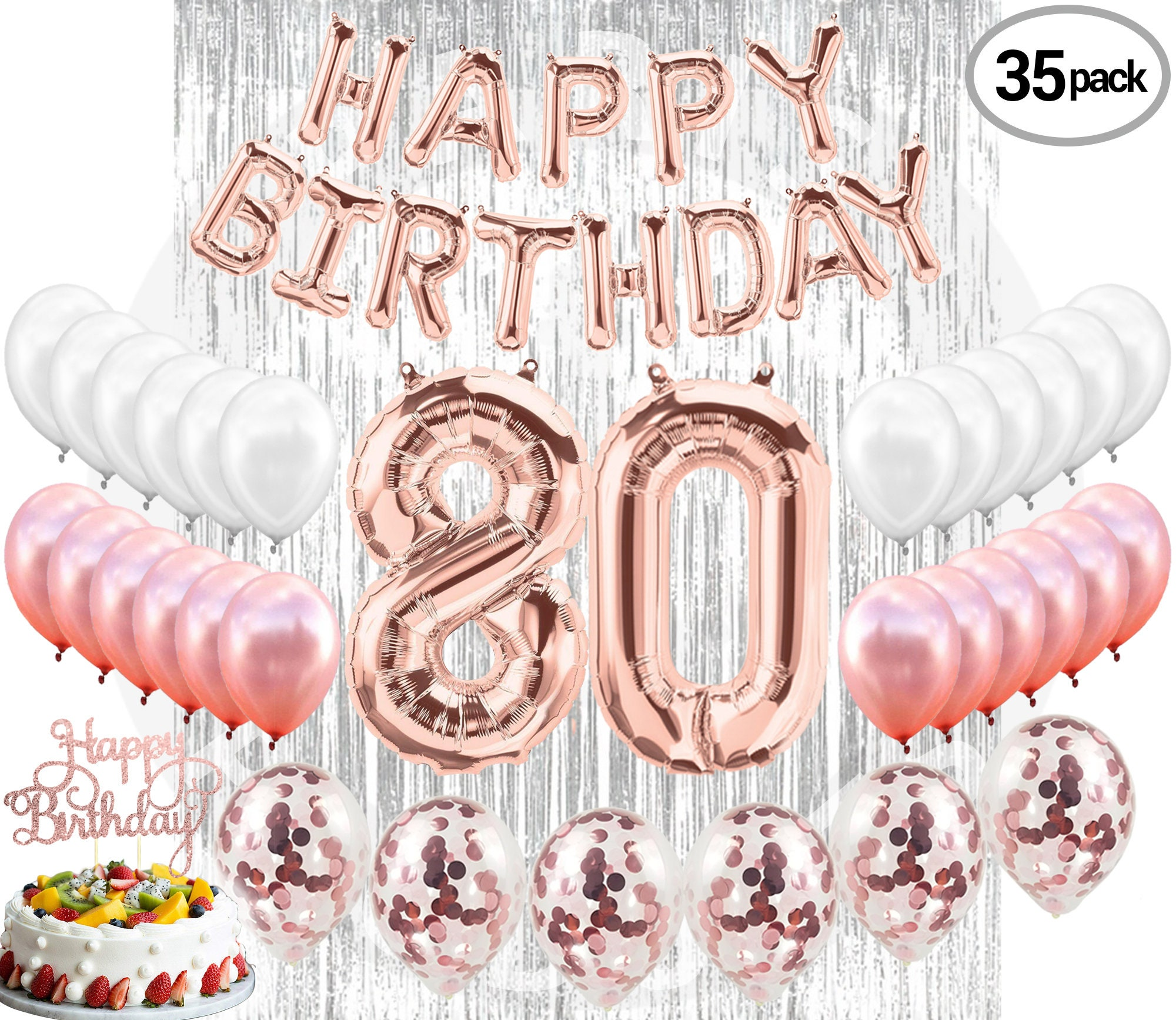 80th BIRTHDAY DECORATIONS Party Supplies Rose Gold