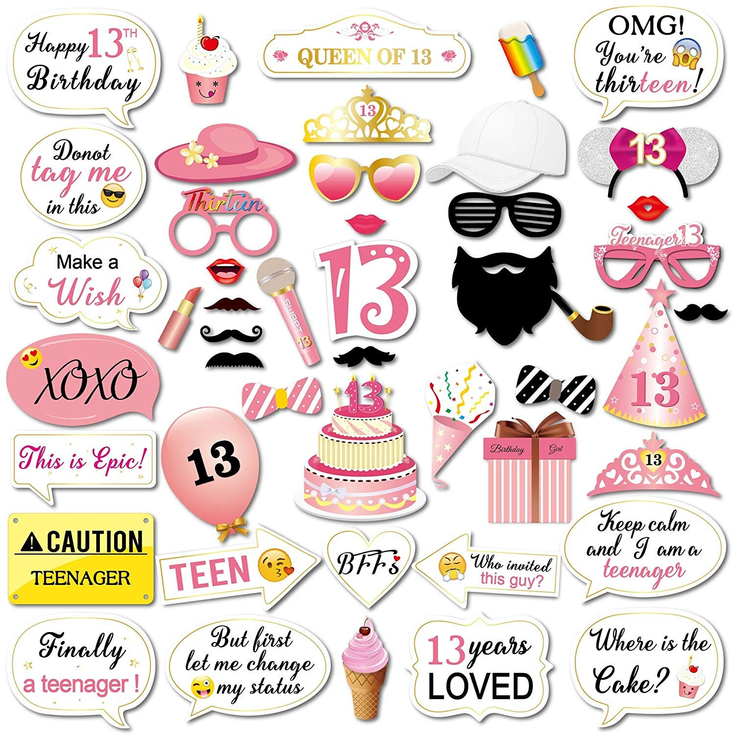 13th Birthday Photo Booth Props Kit For Teenage 13th Birthday Party Decorations Supplies Counts Thirteen Birthday Supplies Teenager 48 Count