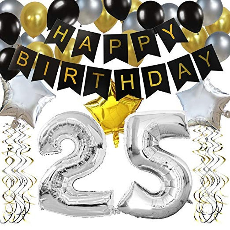 25th Birthday Party Decorations Kit Black Happy