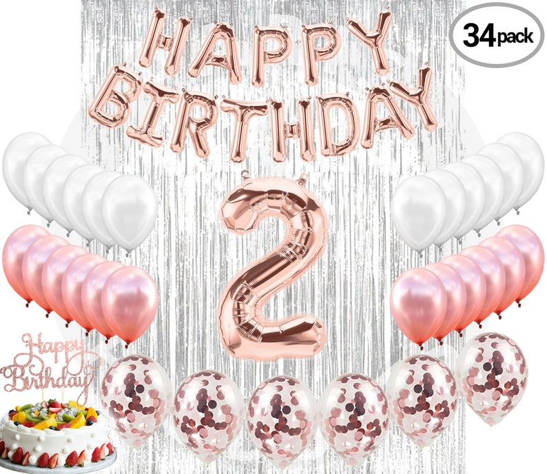 2nd BIRTHDAY DECORATIONS Party Supplies And Rose Gold