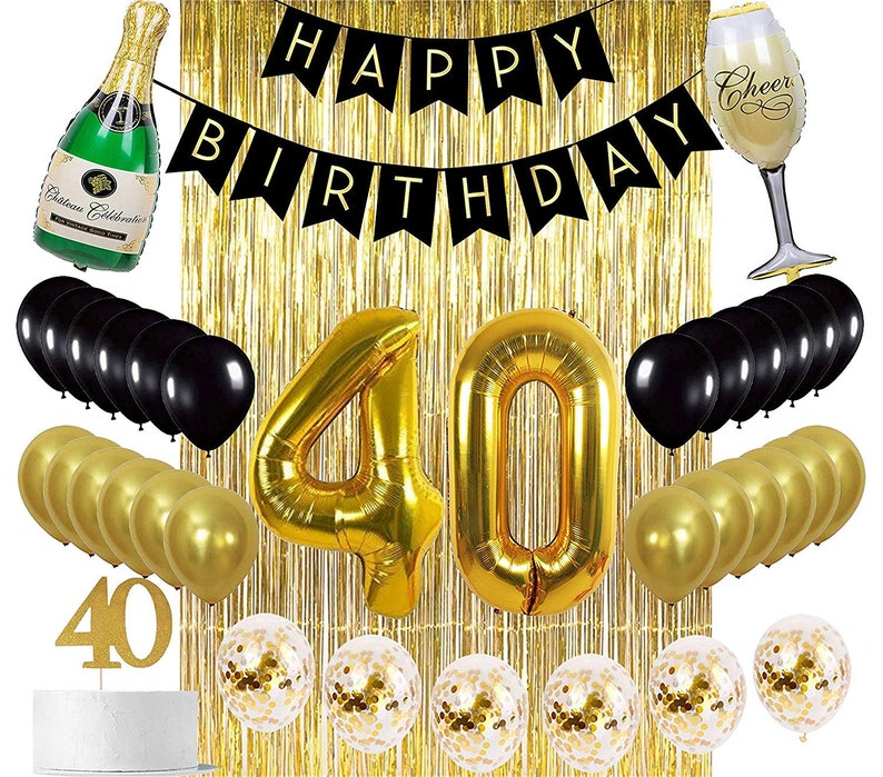40th BIRTHDAY DECORATIONS Gold Black Birthday Party