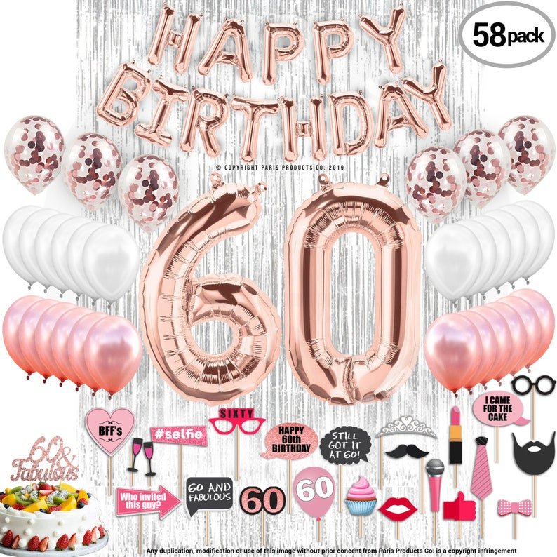 60th Birthday Decorations Party Supplies 60 Fabulous Cake