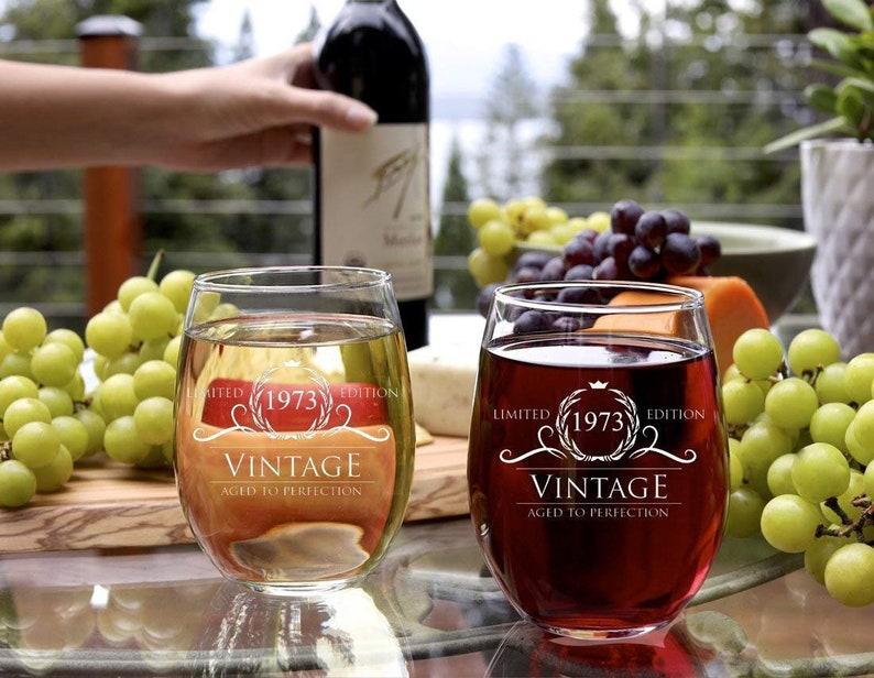 1968 45th Birthday Gifts Women Men Wine Glass Vintage Golden