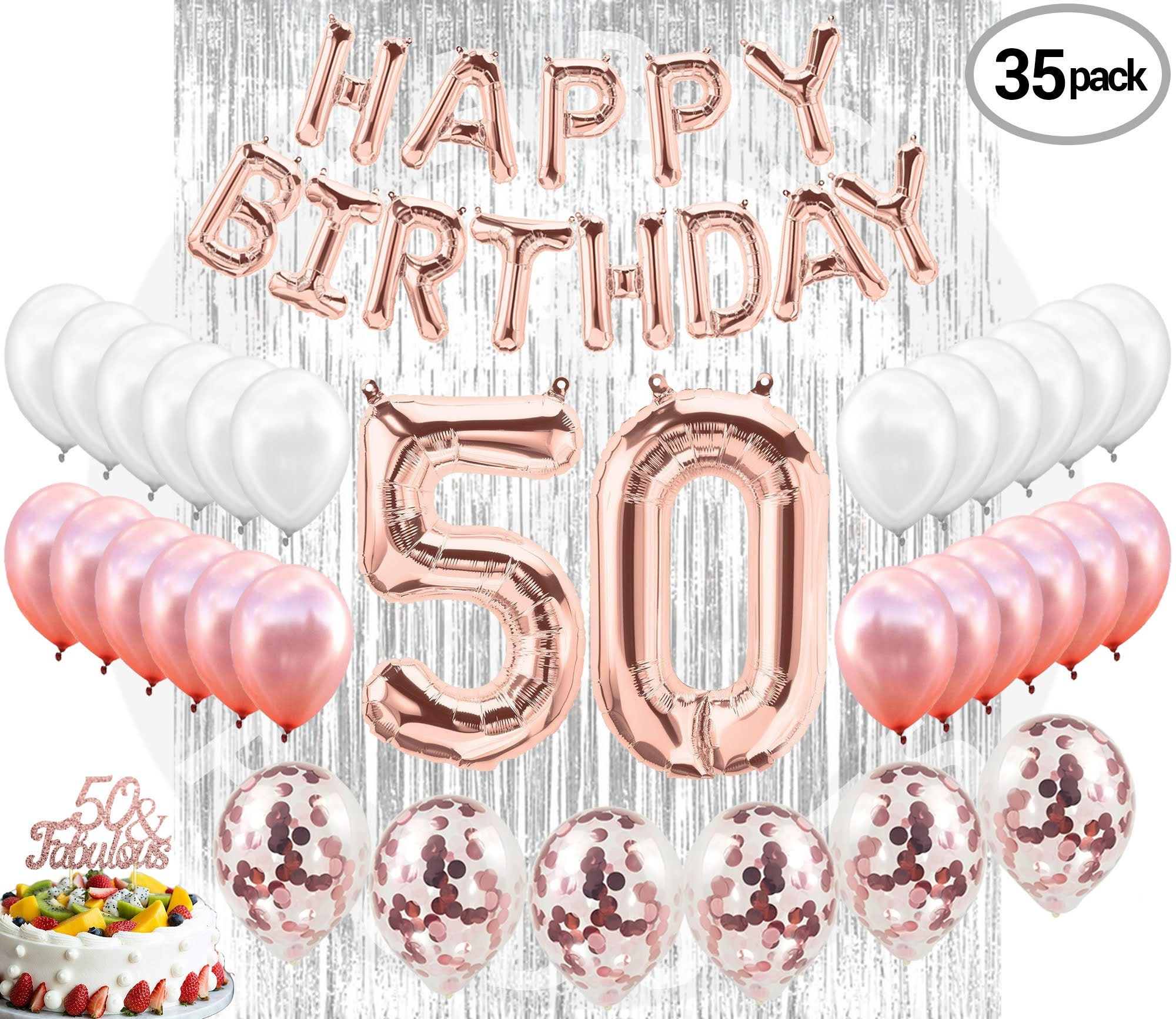 50th Birthday Decorations Party Supplies 50 Banner Rose Gold