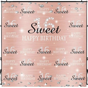 COMOPHOTO Sweet 16th Photo Backdrop 8x8ft Birthday Party Banner Pink Gold Backdrops for Photography Step and Repeat Decorations