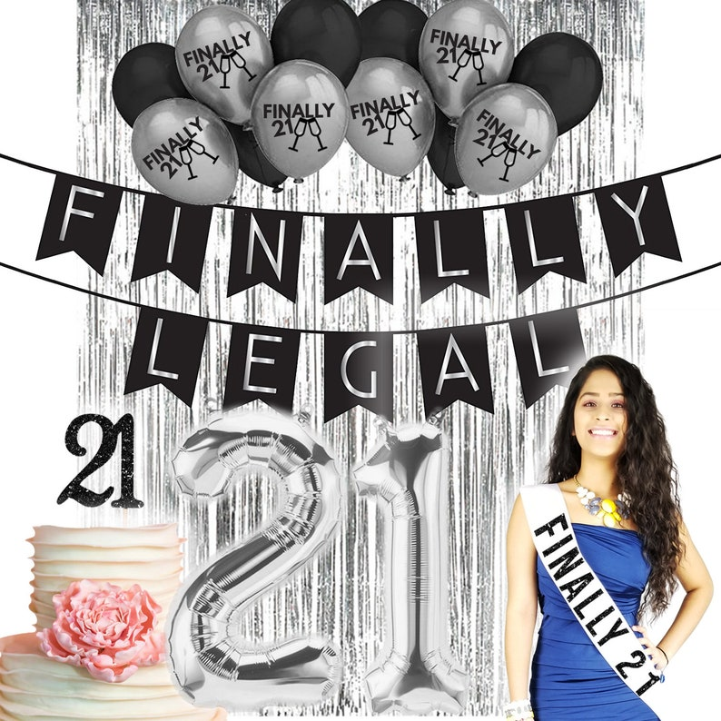 Finally Legal 21st BIRTHDAY DECORATIONS Cake Topper Party