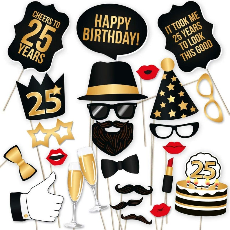 25th Birthday Photo Booth Props Party Decoration Supplies Him