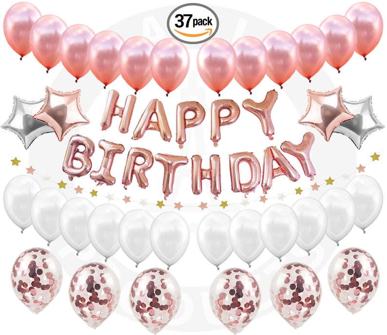 Happy BIRTHDAY GIRL DECORATIONS Rose Gold Confetti Balloons