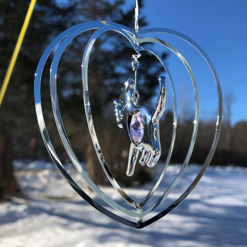 Cat in Heart Dangle with PINK Crystal 4118 Crystal Beaded Sun Catcher Suncatcher