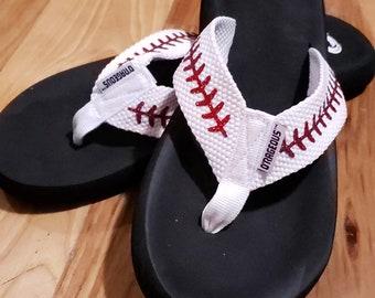 27d12fa39b41 baseball flip flops - baseball sandals - summer shoes - baseball mom flip  flops