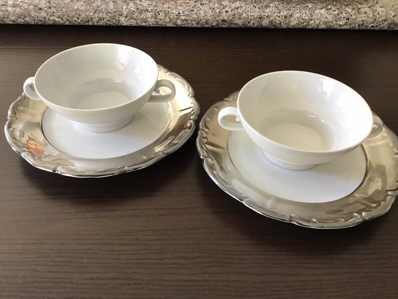 1930/'s Silver luster Snack Luncheon set