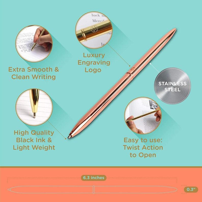 GoldRose GoldSilverBlack Slim Ballpoint Pen Set of 4 Assortment Metal Ball Point Pen In A Gift Box for Home Office Decor Black Ink