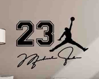 52ebd84c422 Michael Jordan Wall Decal Jumpman 23 Sign Quote Air Jordan Basketball  Poster Motivational Sign Gym Vinyl Sticker Gifts Decor Wall Art 1033