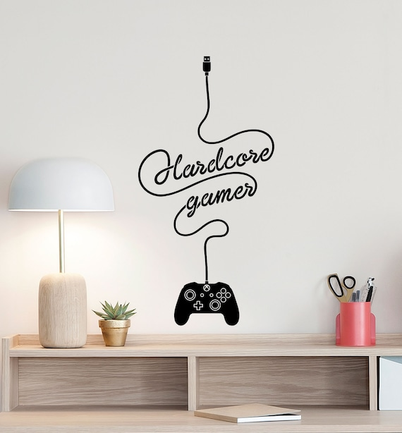 hardcore gamer wall decal xbox controller gamer room sign | etsy